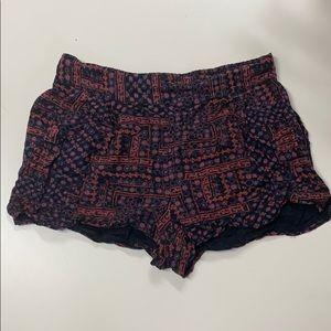 UO Ecote Purple Red Tribal Flowy Shorts